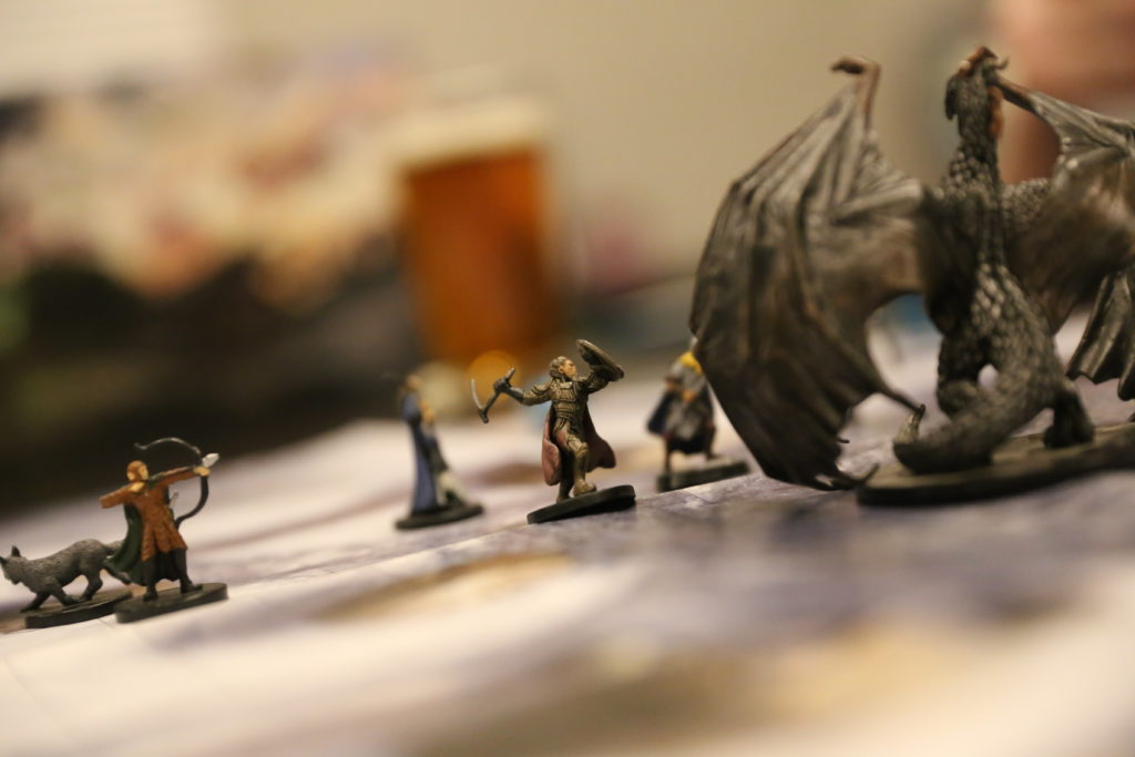 Dungeons & Dragons miniatures - dragon and cleric